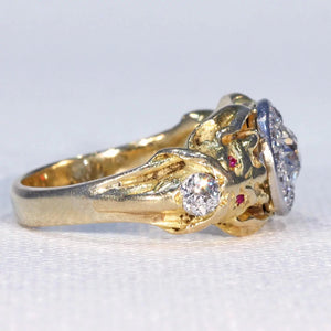 Antique Gold Diamond Cluster Demon Ring Ruby Eyes