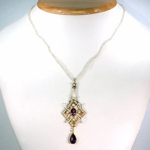 Antique Gold Enamel Amethyst Pearl Pendant Necklace on Pearl Chain