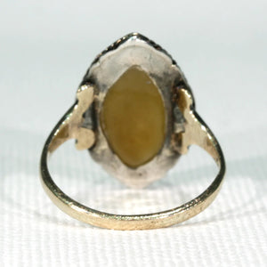 Antique Navette Gold Agate Ring