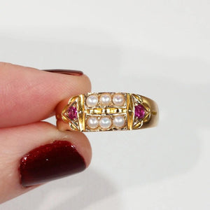 Antique Pearl Ruby Ring Hallmarked 1884