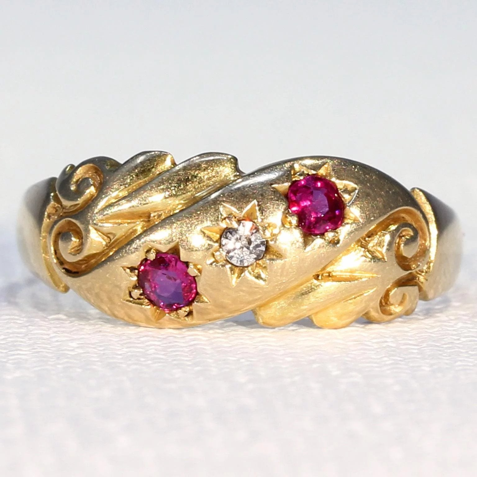 Antique Ruby Diamond Ring Hallmarked 1900