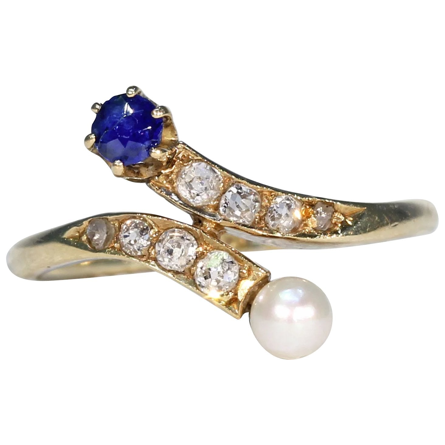 Antique Sapphire Pearl Diamond Bypass Ring