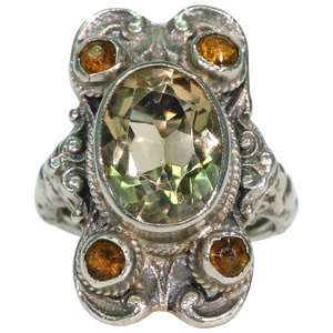 Antique Silver Citrine Arts & Crafts Ring