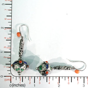 Antique Silver Colorfully Enameled Earrings