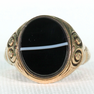Antique Victorian Banded Agate Ring in 9k Gold