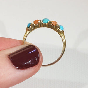 Antique Victorian Coral Turquoise Diamond Ring 18k Gold