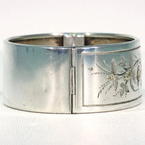 Antique Victorian Embossed Silver Bangle Bracelet