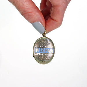 Antique Victorian Enamel Mizpah Locket 9k Gold