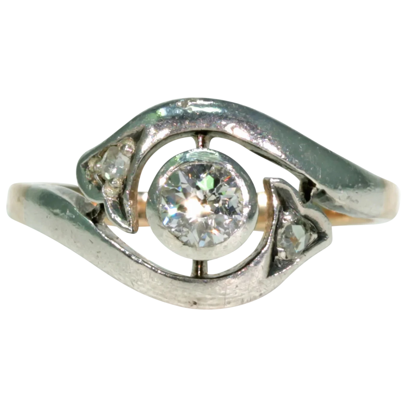 Art Nouveau Turbillion Diamond Ring Gold Silver