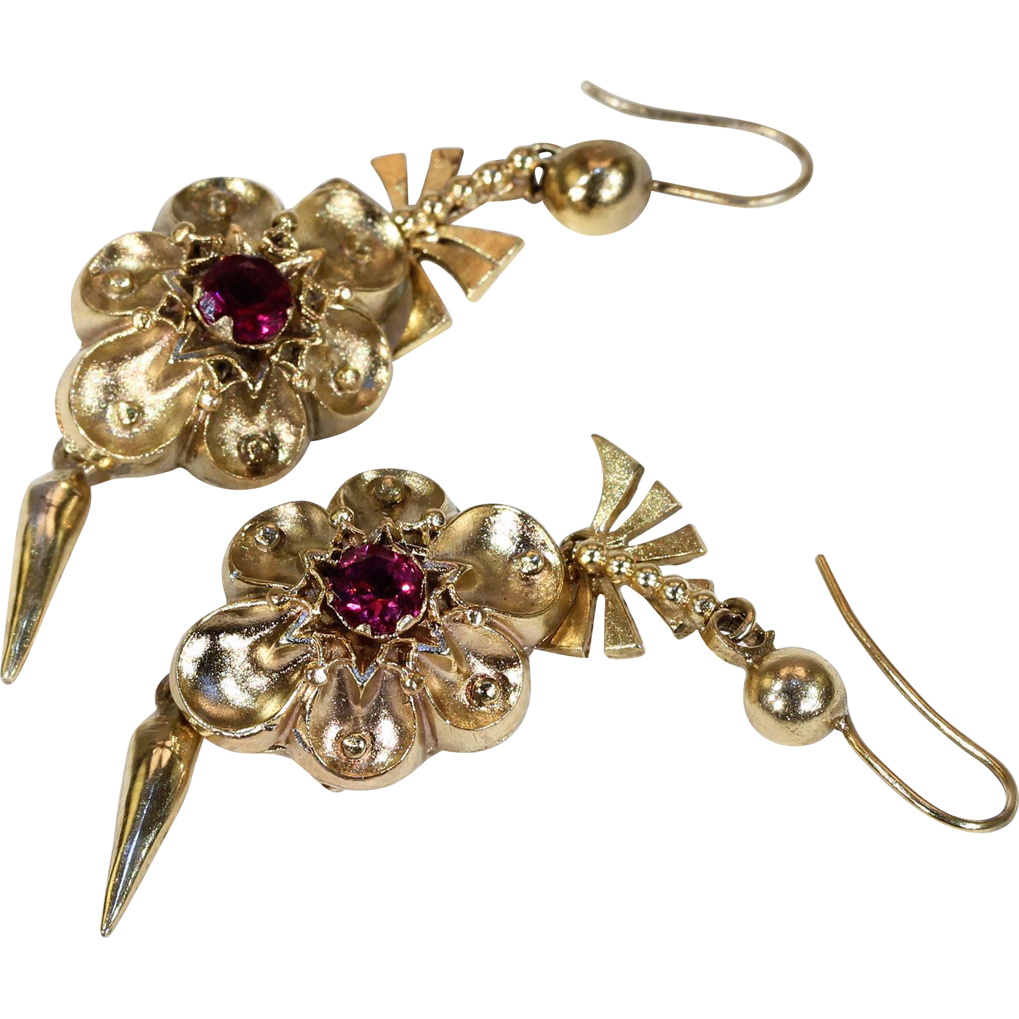 products etruscan fetheray ruby revival victorian antique earrings