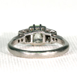 Edwardian 1.6 carat Square Mine Cut Diamond Ring Antique Engagement Ring