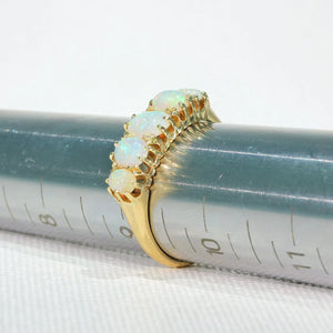 Edwardian 5 Stone Opal Ring in 18k Glowing Stones