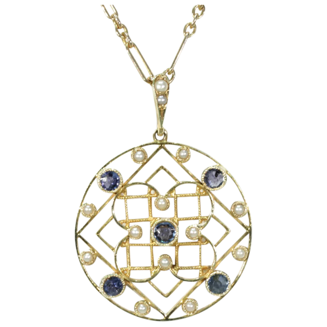 Edwardian Sapphire Pearl Pendant Necklace 15k Gold