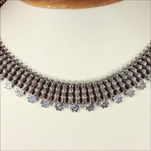Elaborate Antique Victorian Silver Collar Necklace