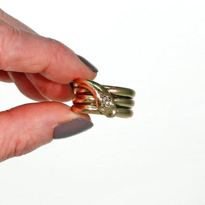 Extra Wide Antique Diamond Snake Ring 9k Gold