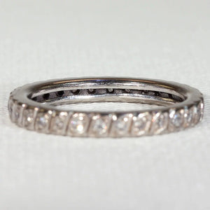 French Art Deco Eternity Band Ring White Gold Size 8.25