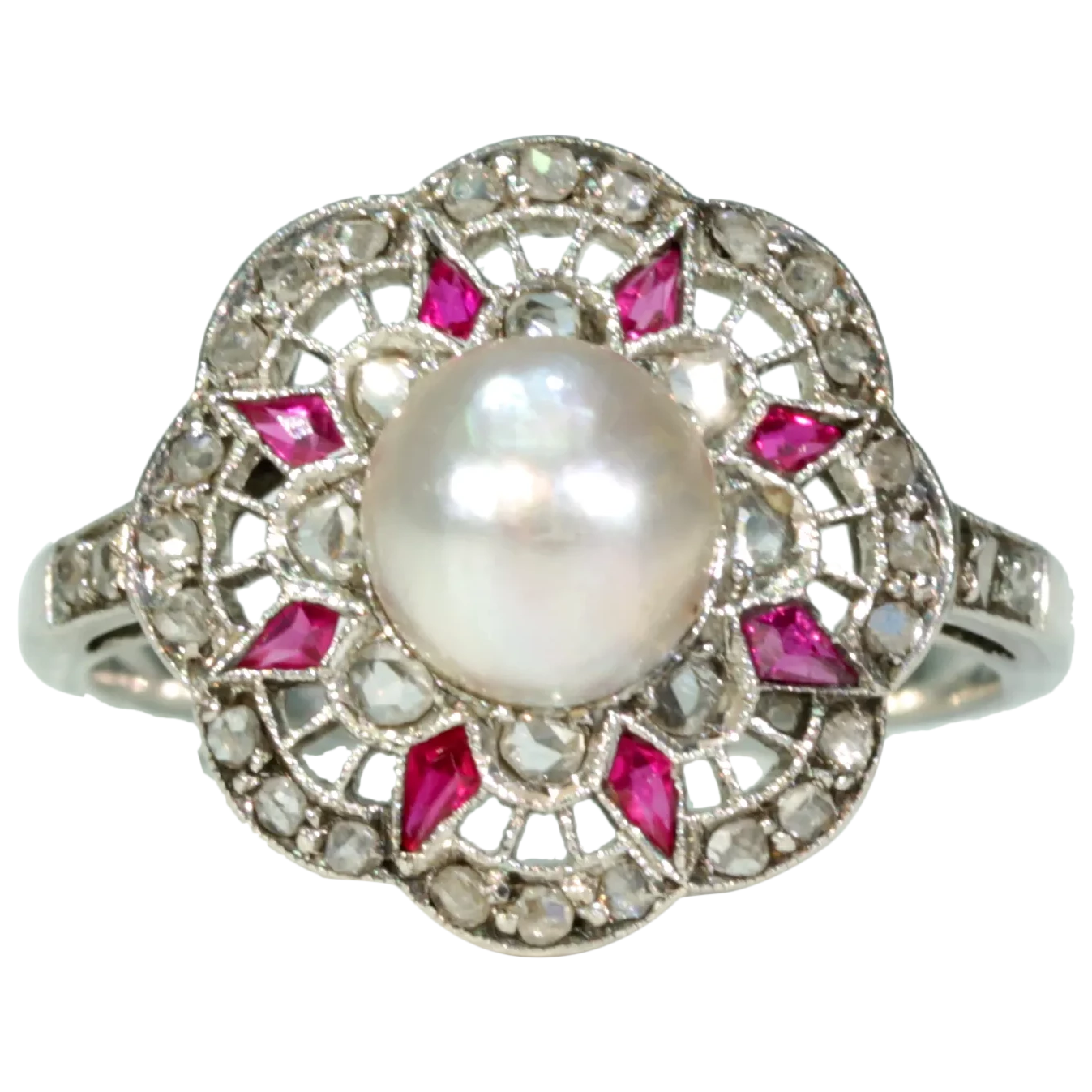 French Belle Époque Pearl Ruby Diamond Ring