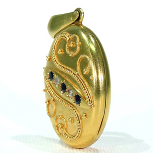 French Etruscan Revival Sapphire Diamond Locket 18k Gold