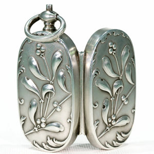 French Silver Sovereign Case Pendant with Mistletoe Motif Art Nouveau