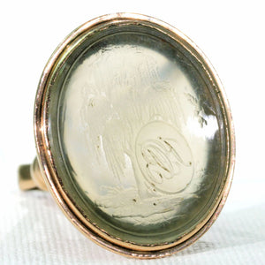 Georgian Chalcedony Fob Seal Pendant Memorial Weeping Willow