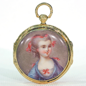Georgian Enamel Portrait Locket Pendant 18k Gold