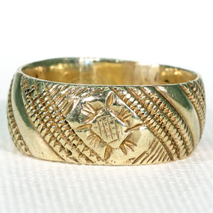 Georgian Engraved Silver Gilt Wedding Band Ring