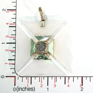 Georgian Maltese Cross Pendant Chalcedony 15k Gold
