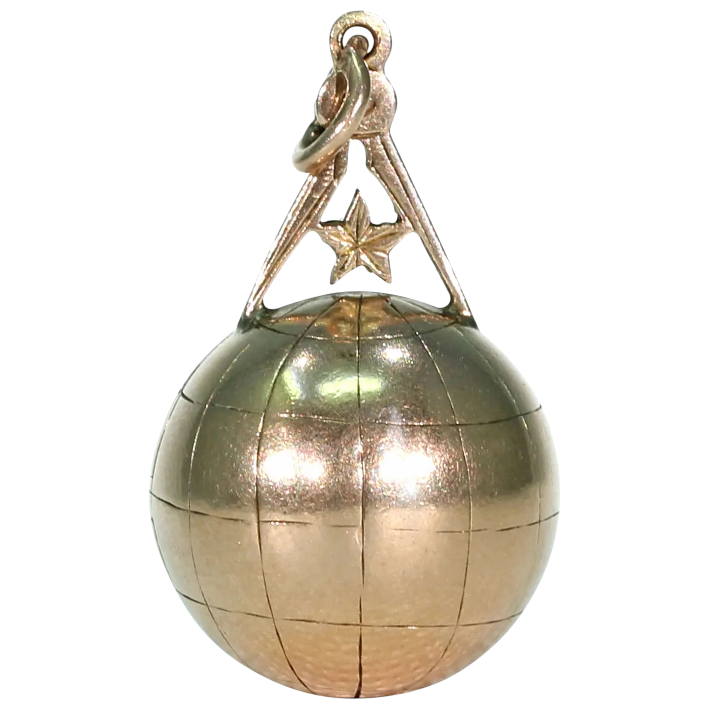 Gold Victorian Masonic Globe and Compass Fob Pendant