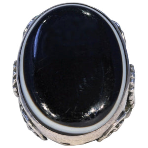 Large Victorian Banded Agate Silver Ring ~ Facinating!