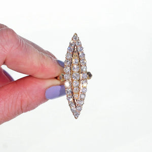 Large Victorian Navette Diamond Ring 2.55 cttw