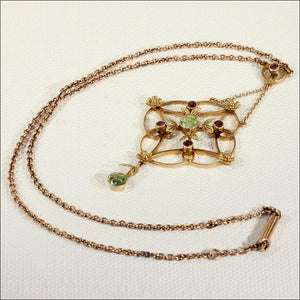 Antique Edwardian Peridot and Garnet Necklace in 9k Gold