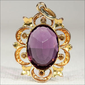 Antique Amethyst and Pearl Pendant, Victorian 15k Gold