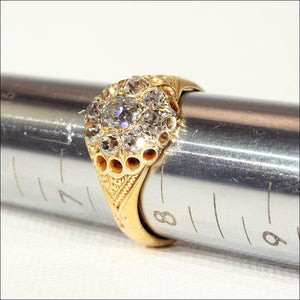 Antique Victorian Diamond Cluster Engagement Ring in 18k Gold, Hallmarked 1874