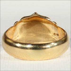 Antique 18k Gold Men's Sheild Ring, Hallmarked 1915