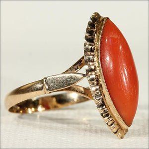 Antique Red Coral Navette Ring in 18k Gold, Dutch