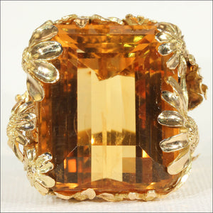 Vintage Designer 75ct+ Citrine and Gold Cocktail Ring, c. 1960 in 18k Gold