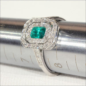 Vintage Emerald and Diamond Double Halo Ring in 18k White Gold