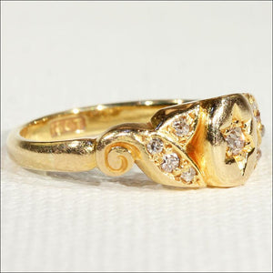Antique Edwardian Diamond Ring in 18k Gold, Engagement, Wedding