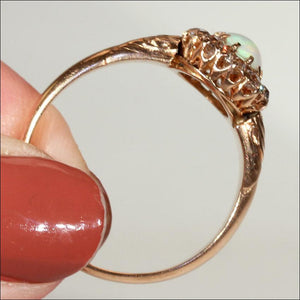Antique Opal and Diamond Cluster Ring c. 1890 in 15k Gold