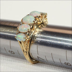 Antique Opal 5 Stone Ring with Rose Cut Diamonds in 18k Gold