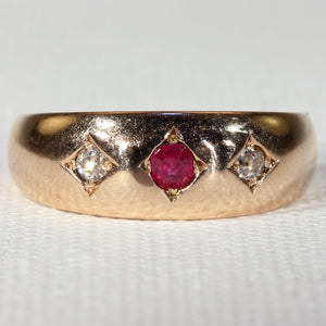 Antique Victorian 3 Stone Ruby Diamond Ring in 15k Gold Hallmarked 1892