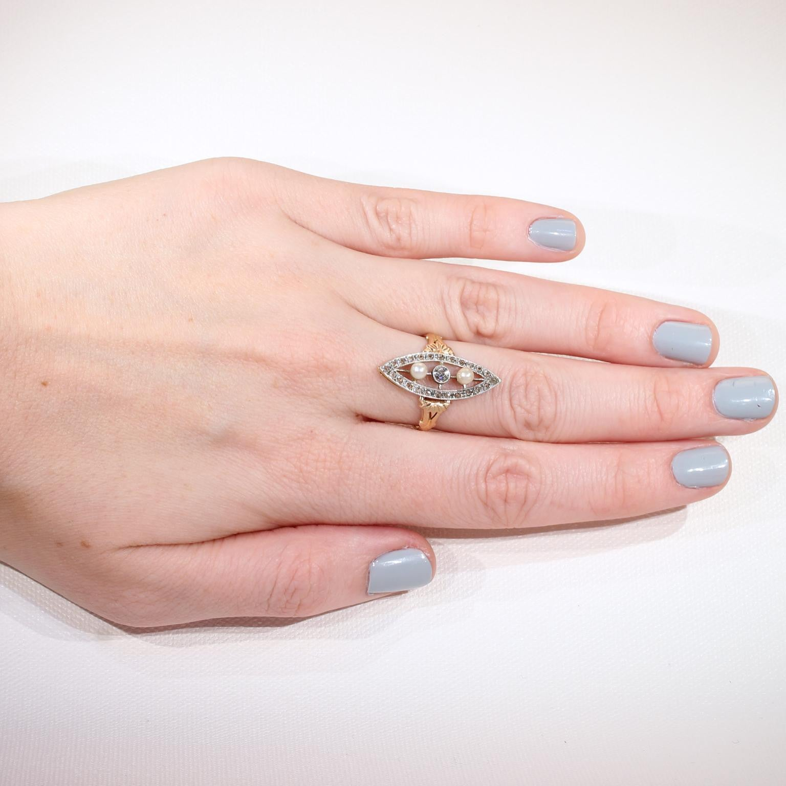 Antique French Diamond Pearl Navette Ring - Victoria Sterling ...