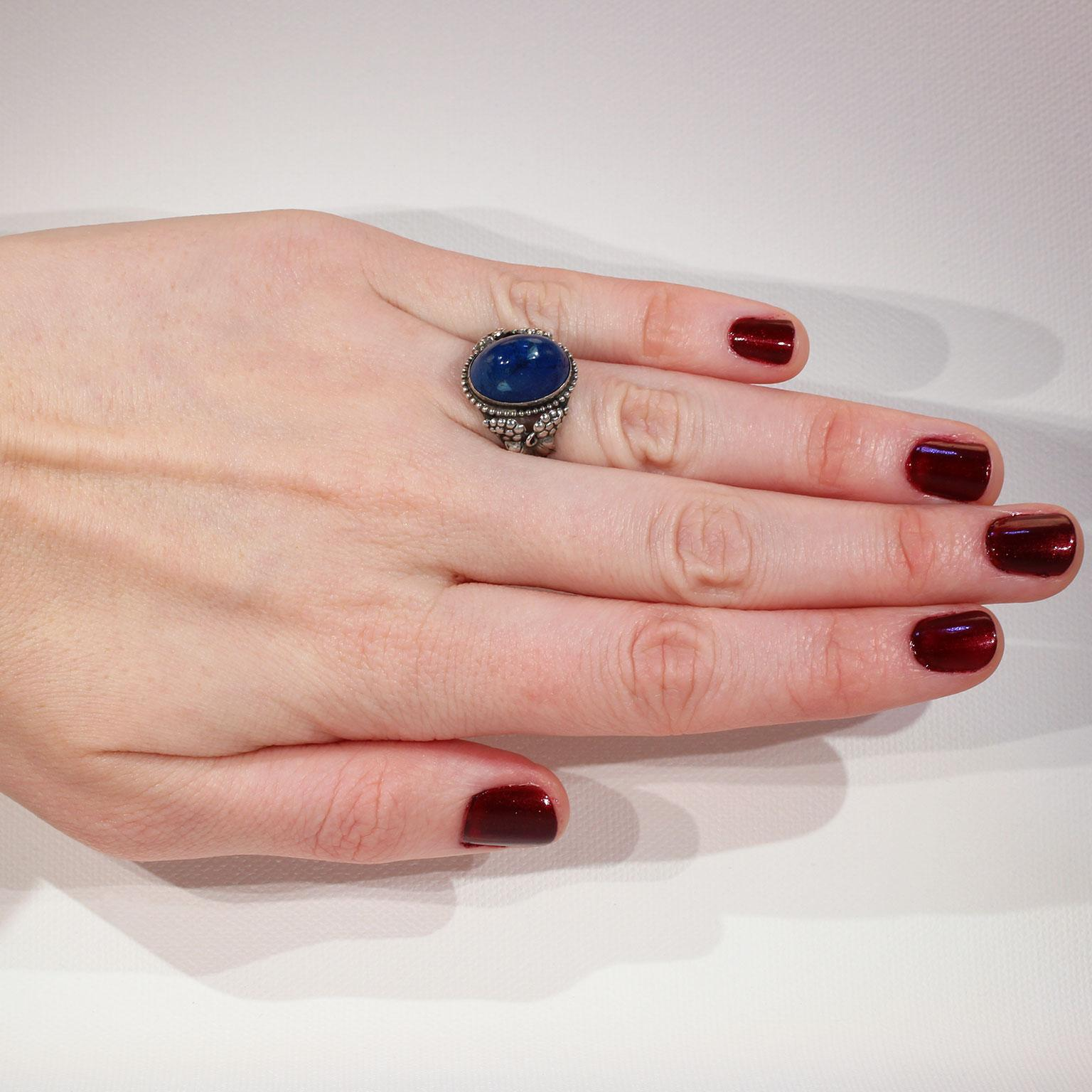 Antique Sterling Silver Swiss Lapis Ring Grape Motif - Victoria ...