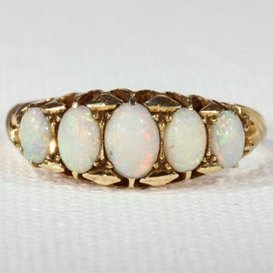 Antique 5 Stone Opal Gold Ring Hallmarked 1905