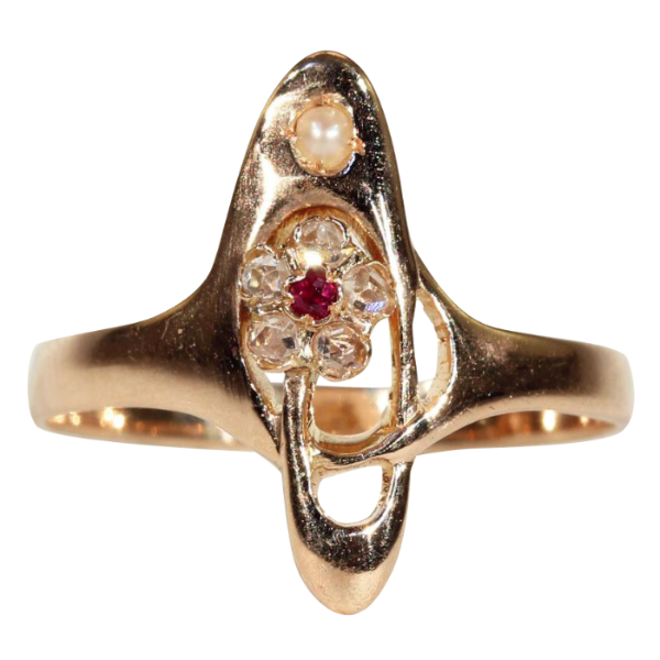 Antique Art Nouveau Diamond, Ruby and Pearl Ring in 18k Gold