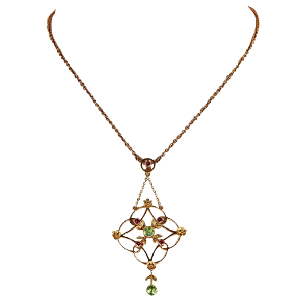 09a76fd25 Antique Edwardian Peridot and Garnet Necklace in 9k Gold - Victoria ...