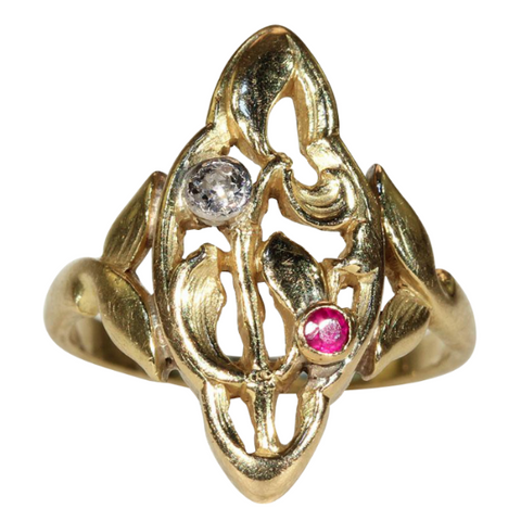 7529eeda1 Antique Art Nouveau Ruby and Diamond Ring in 18k Gold with Mistletoe Motif