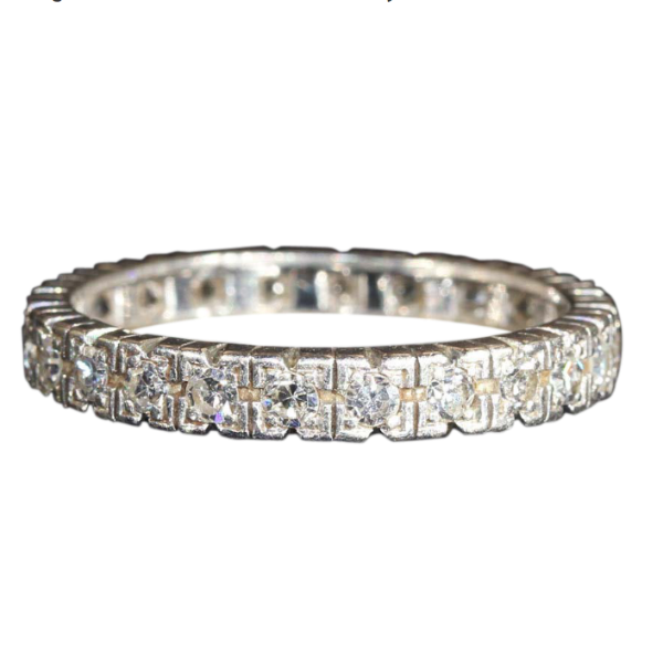 Vintage Men's Diamond Platinum Eternity Band, French c. 1930, Size 11