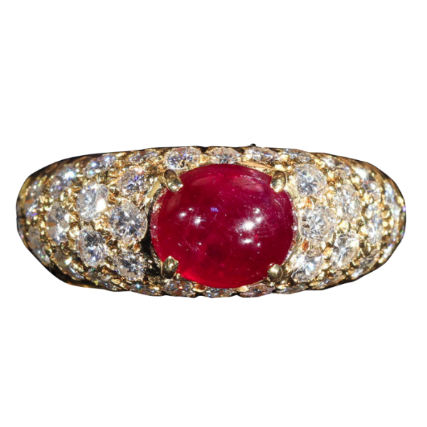 Vintage Cabochon Ruby and Diamond Ring in 18k Gold