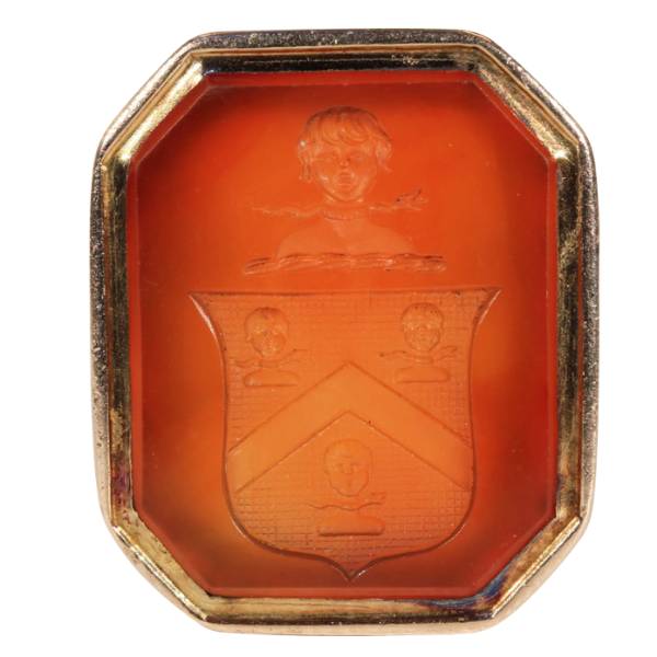 Antique Victorian Fob Seal of the Vaughan Family, Carnelian and 9k Gold